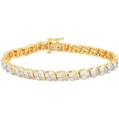 Love Honor Cherish 14K Yellow Gold Over Sterling Silver 1 1/10 CTW Diamond Bracelet