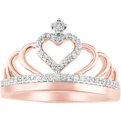 10K Rose Gold Diamond Accent Crown Ring