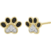 Animal's Rock 14K Gold Over Sterling Silver 1/7 CTW Diamond Paw Print Stud Earrings