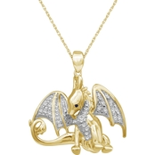 She Shines 14K Gold Over Sterling Silver 1/7 CTW Diamond Flying Dragon Pendant