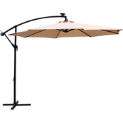 CasualWay 10 ft. Offset Market Umbrella with Solar LED Lights