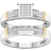 14K Yellow Gold Over Sterling Silver 1/5 CTW Diamond Bridal Set