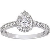 Diamore 14K White Gold 1 CTW Diamond Pear Cut Halo Engagement Ring
