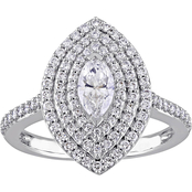 Diamore 14K White Gold 1 CTW Diamond Marquise Cut Triple Halo Engagement Ring