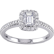 Diamore 14K White Gold 7/8 CTW Diamond Emerald Cut Engagement Ring