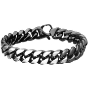 INOX Stainless Steel Matte Black IP Reversible Curb Bracelet