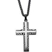 INOX Stainless Steel Black IP Damascus Cross Pendant