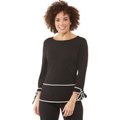 Passports Contrast Trim Knit Top