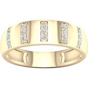 Sterling Silver over Goldtone 1/5 CTW Diamond Men's Ring