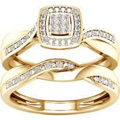 14K Yellow Gold Plating Over Sterling Silver Diamond Accent Bridal Set