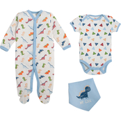 Infant Boys Dino 3pc Footed Coverall Set