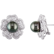 Michiko 18K White Gold 1-1/2 CTW and Tahitian Cultured Pearl Floral Stud Earrings