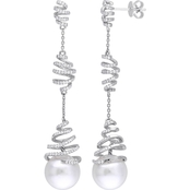 South Sea Pearl and 3/4 CT TW Diamond Spiral Drop Earrings in 14k White Gold