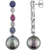 Tahitian Pearl, Sapphire and 1/8 CT TW Diamond Journey Earrings in 14k White Gold