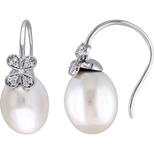 South Sea Cultured Pearl and 1/8 CT TW Diamond Floral Earrings in 14k White Gold