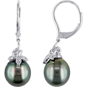 Michiko 10K White Gold Tahitian Cultured Pearl and Diamond Cluster Leaf Earrings