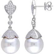 South Sea Cultured Pearl and 3/4 CT TW Diamond Vintage Earrings 14k White Gold