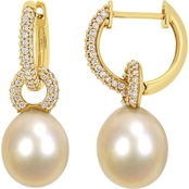 South Sea Cultured Pearl and 1/2CT TW Diamond Dangle Earrings in 14k Yellow Gold
