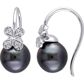 Michiko 14K White Gold 1/8 CTW Diamond and Tahitian Cultured Pearl Floral Earrings