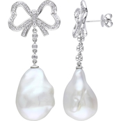 Michiko 14K White Gold 1/2 CTW Diamond and Cultured Baroque Pearl Bow Earrings