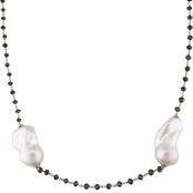 Michiko 14K White Gold Cultured Biwa Pearl and Black Diamond Beaded Necklace