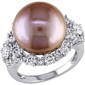Michiko 14K White Gold Pink Cultured Pearl 1 3/5 CTW Diamond Ring, Size 7