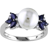 Michiko 10K White Gold Cultured Freshwater Pearl, Diamond, and Sapphire Ring