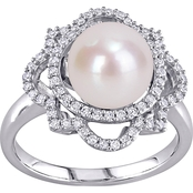 Michiko 14K White Gold Cultured Freshwater Pearl and 3/8 CTW Diamond Ring, Size 7