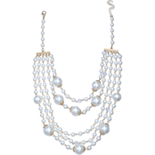 jules b Faux Pearl 5 Row Frontal Necklace