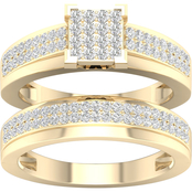 Yellow Gold Over Sterling Silver with 5/8 CTW Diamond Bridal Set