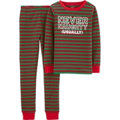Carter's Little Boys Red and Green 2 pc. Cotton Pajama Set
