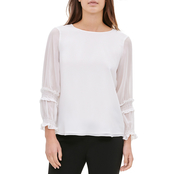 Calvin Klein Crewneck Gathered Sleeve Top