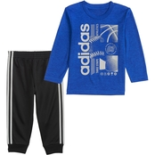 adidas Infant Boys Melange Tee and Jogger Pants 2 pc. Set