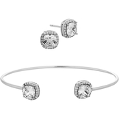 Sterling Silver Cubic Zirconia Cushion Cut Stud Earrings and Bangle Set