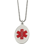 Stainless Steel Red Enamel Oval Medical Pendant