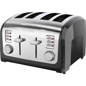 Black & Decker 4 Slice Toaster, Black and Silver