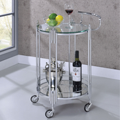 Furniture of America Ebba Chrome and Glass Round Serving Cart