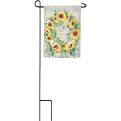 Evergreen Sunflower Wreath Garden Flag