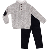 Little Lads Toddler Boys 2 pc. Marled Cable Knit Sweater Set