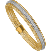 14K Two Tone Polished and Textured Stretch Bracelet