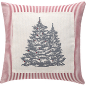 Sheffield Home Rustic Trees Appliqued Patch On Ticking Stripe Pillow
