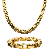 INOX 18K Gold Over Stainless Steel Byzantine Chain/Bracelet Set
