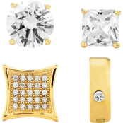 Men's Gold Over Stainless Steel Cubic Zirconia 4 pc. Earring Set