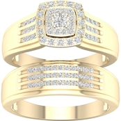 14K Gold Over Sterling Silver 1/3 CTW Diamond Bridal Set