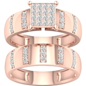 Pink Gold Over Sterling Silver 3/8 CTW Diamond Bridal Set Size 7
