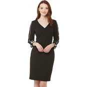 Calvin Klein Roll Tab Sleeve V Neck Sheath Dress