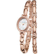 Armitron Swarovski Crystal Accented Rose Goldtone Watch and Bracelet Set