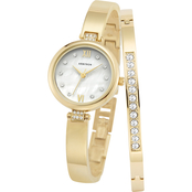 Armitron Swarovski Crystal Accented Goldtone Watch and Bangle Set