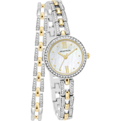 Armitron Swarovski Crystal Accented Two Tone Watch and Bracelet Set