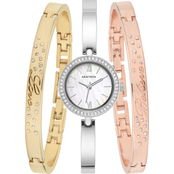 Armitron Swarovski Crystal Accented Silvertone Watch and Bangle Set